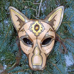 Gold Jeweled Wolf Leather Mask