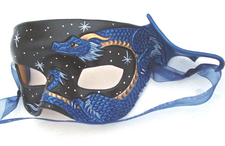 Blue Dragon Half Mask by merimask