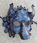 Black Silver Fantasy Wolf Mask