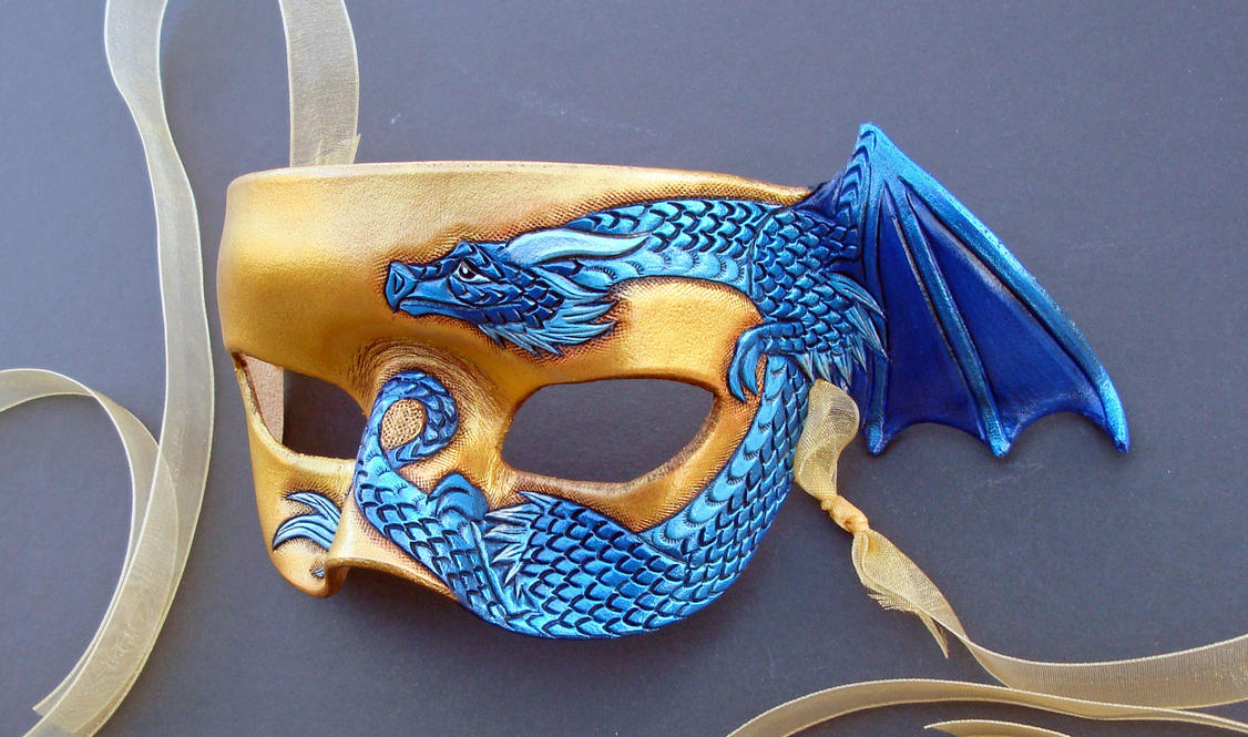 Blue On Gold Small Dragon Mask by merimask