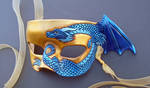 Blue On Gold Small Dragon Mask