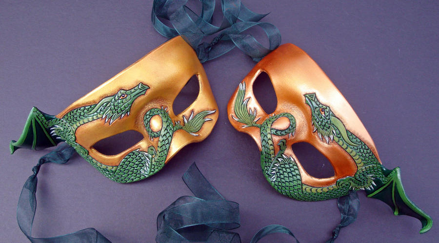 Two Small Dragon Masks by merimask