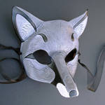 Gray Fox Leather Mask