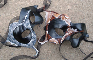 Ouroboros Leather Masks by merimask