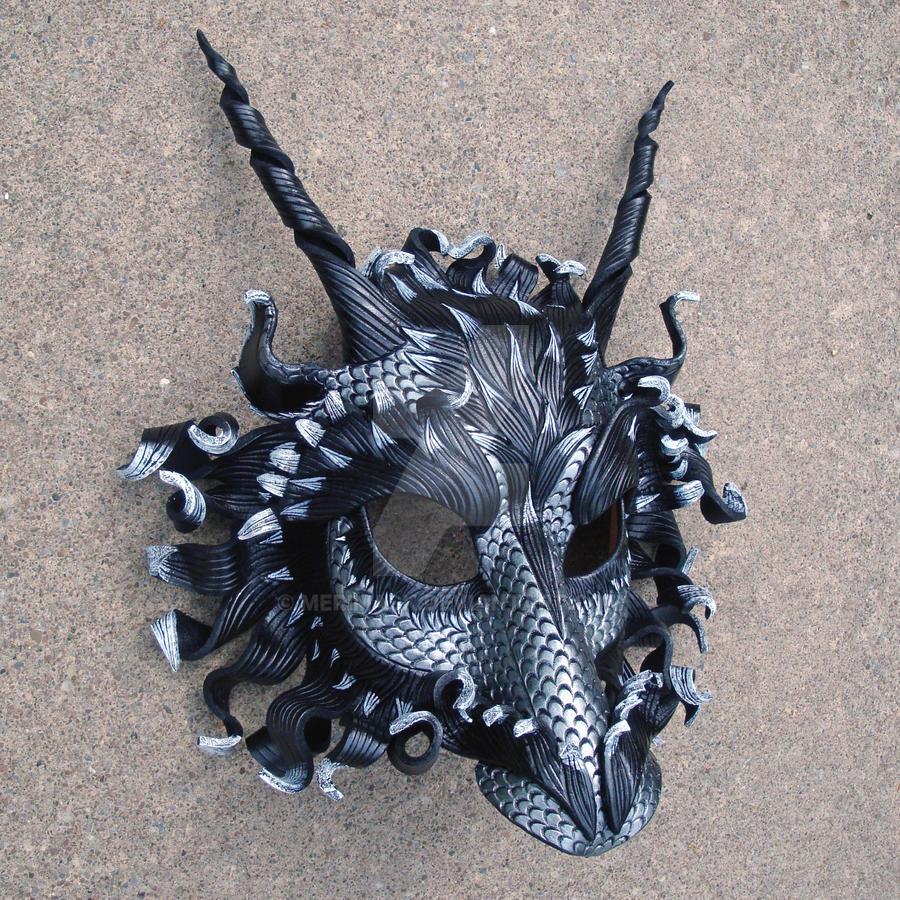 Great Pewter Dragon Mask by merimask