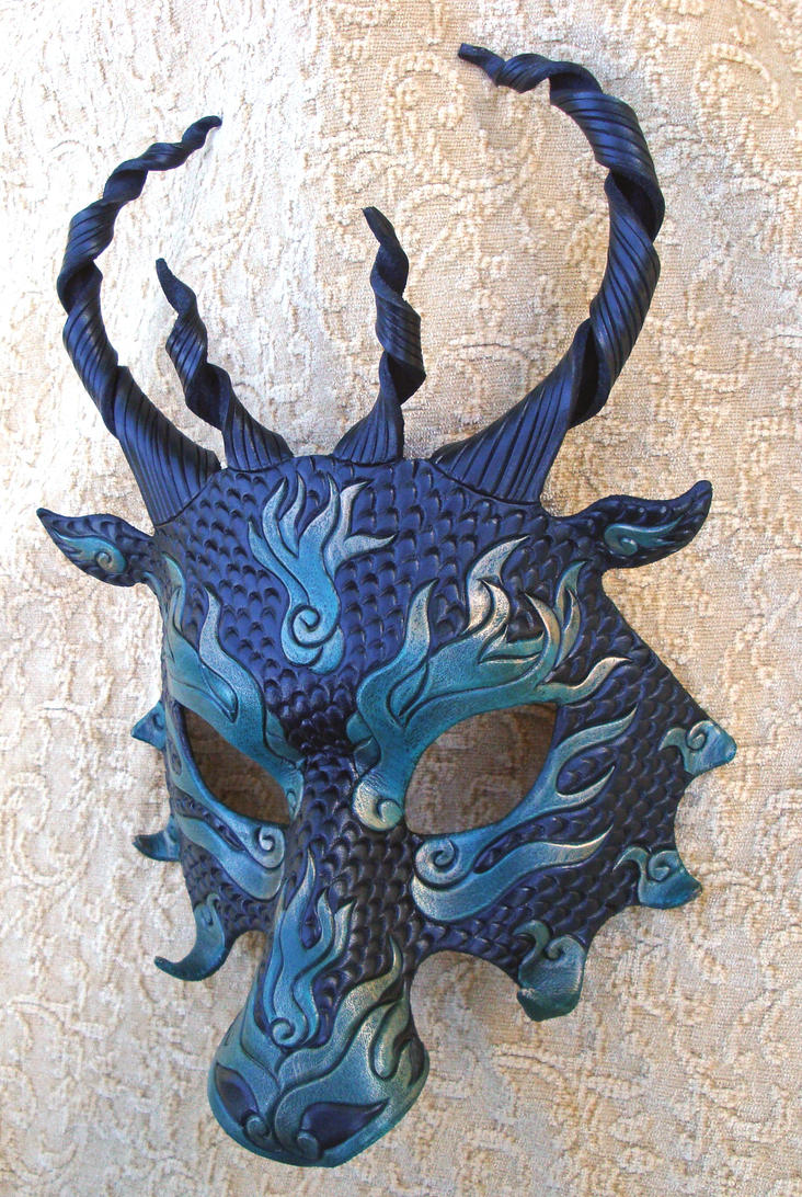 Green Flame Dragon Mask by merimask