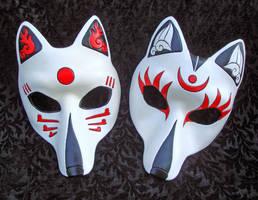 Two Custom Kitsune Masks by merimask