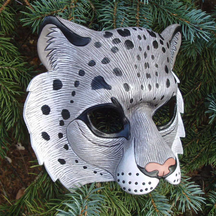 Snow Leopard Leather Mask by merimask