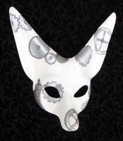 White Steampunk Fennec Mask by merimask