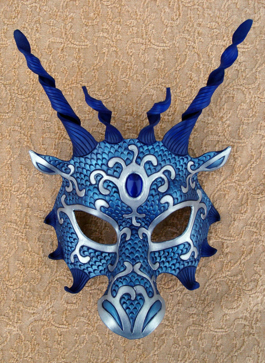 Blue Silver Dragon Mask by merimask