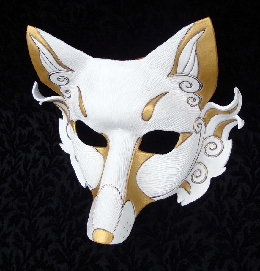 Gold Inari Leather Mask by merimask
