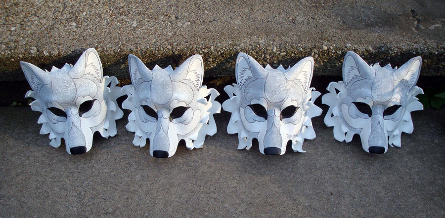 Four White Wolf Masks by merimask