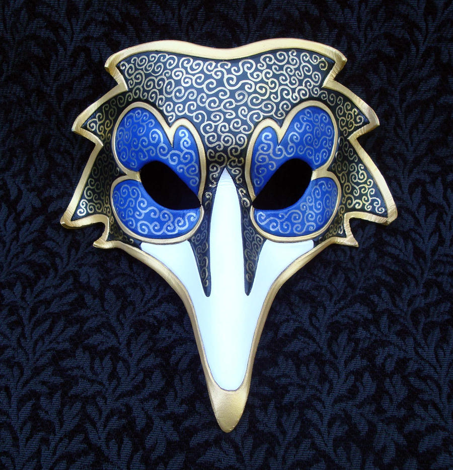 Blue Venetian Raven Mask by merimask