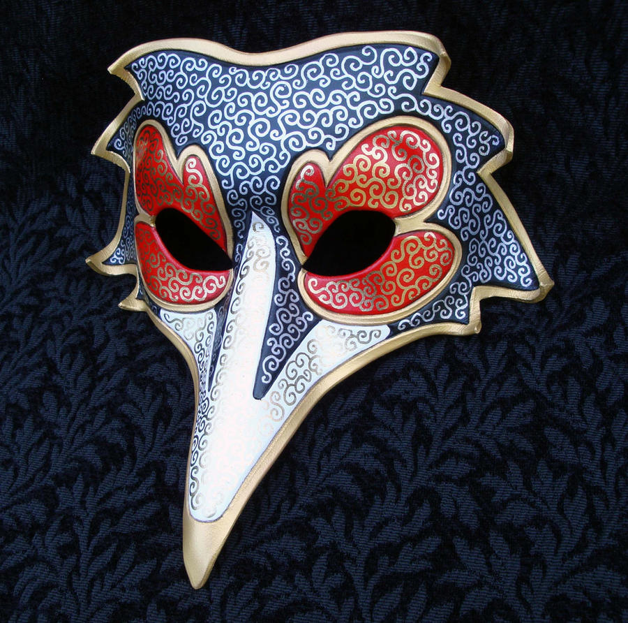 Red Black Venetian Raven Mask by merimask