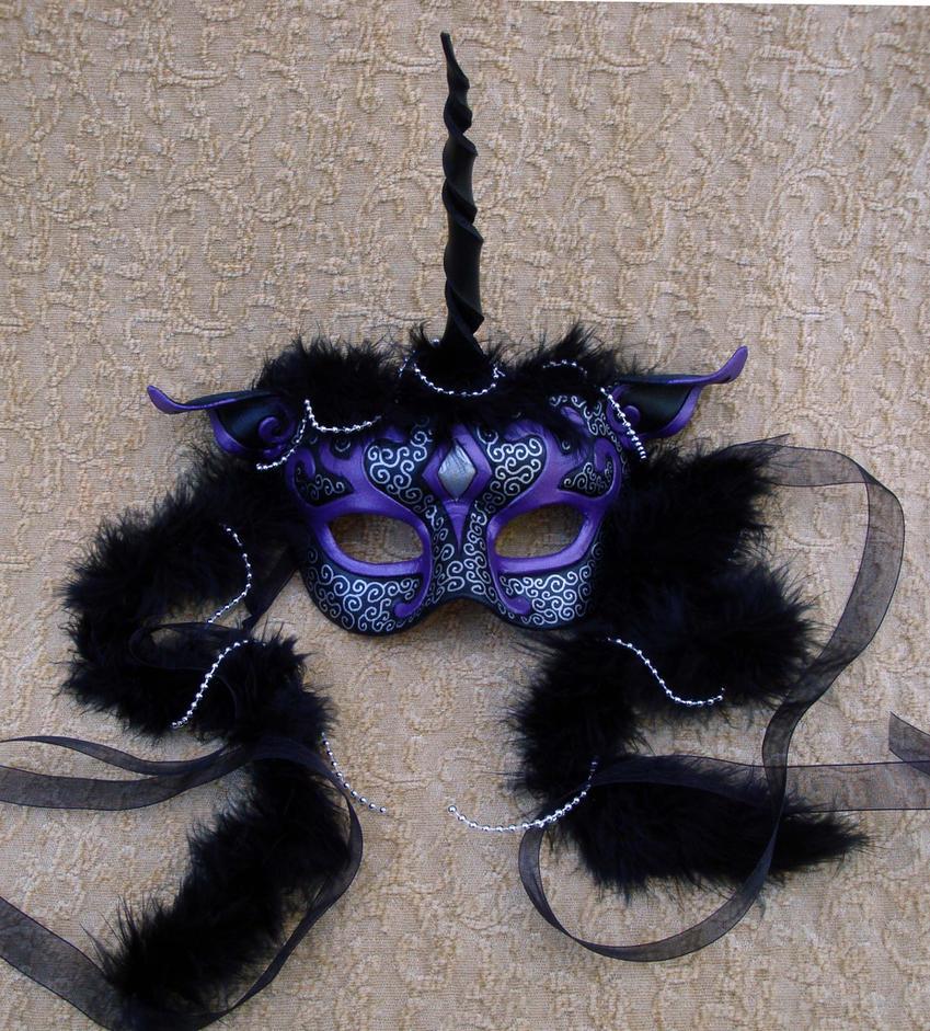 Black and Purple Unicorn Mask by merimask
