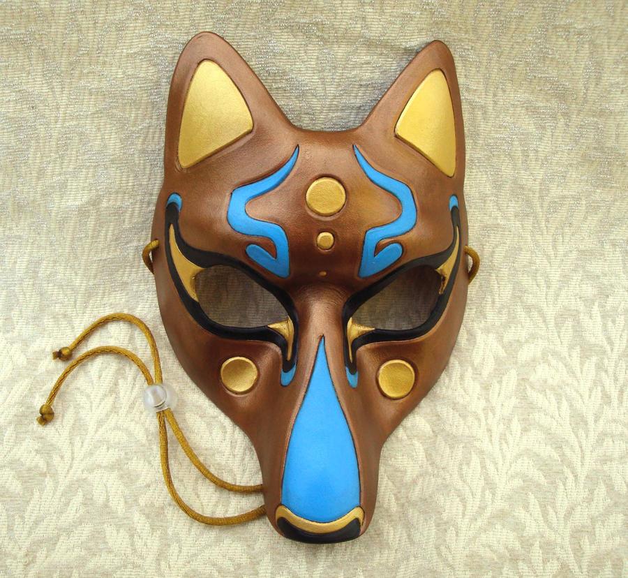 Fancy Kitsune Mask, Bronze by merimask
