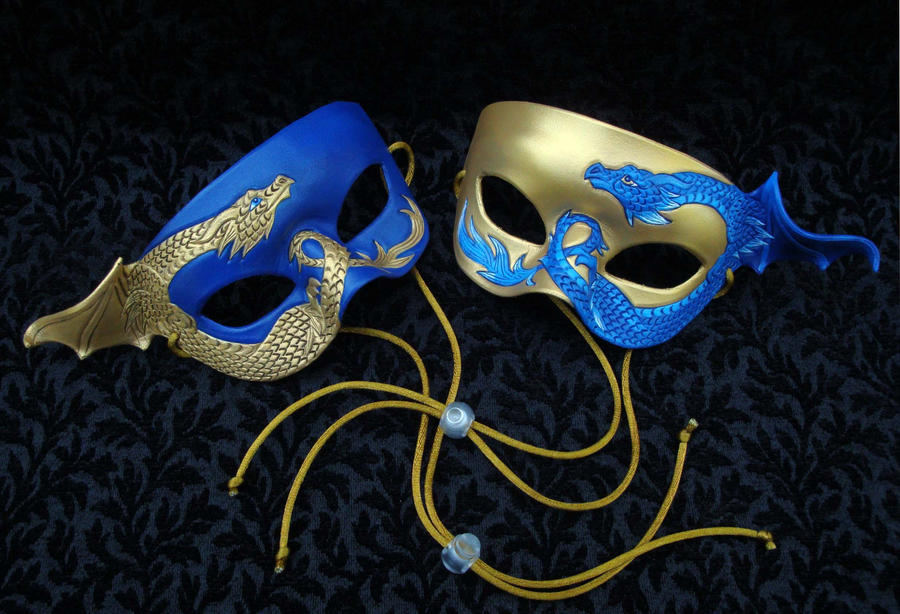 Two Blue-Gold Dragon Masks by merimask