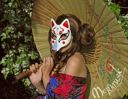 Beki Wearing Kitsune Mask