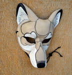 White and cream timber wolf mask