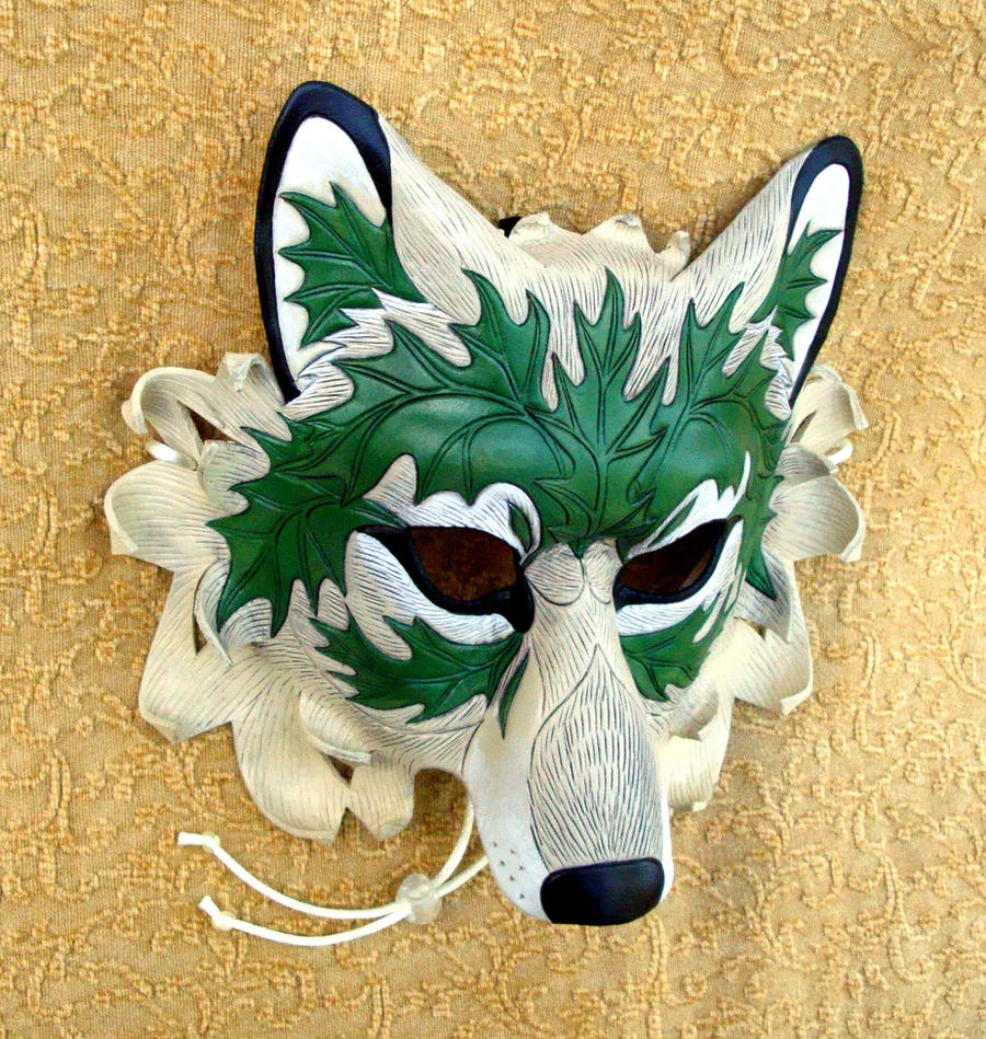 Green Leaf Wolf Mask by merimask