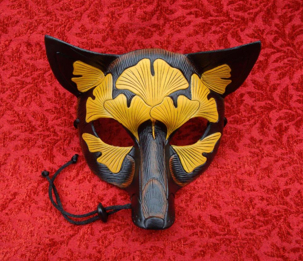 Autumn Ginkgo Fox Mask by merimask