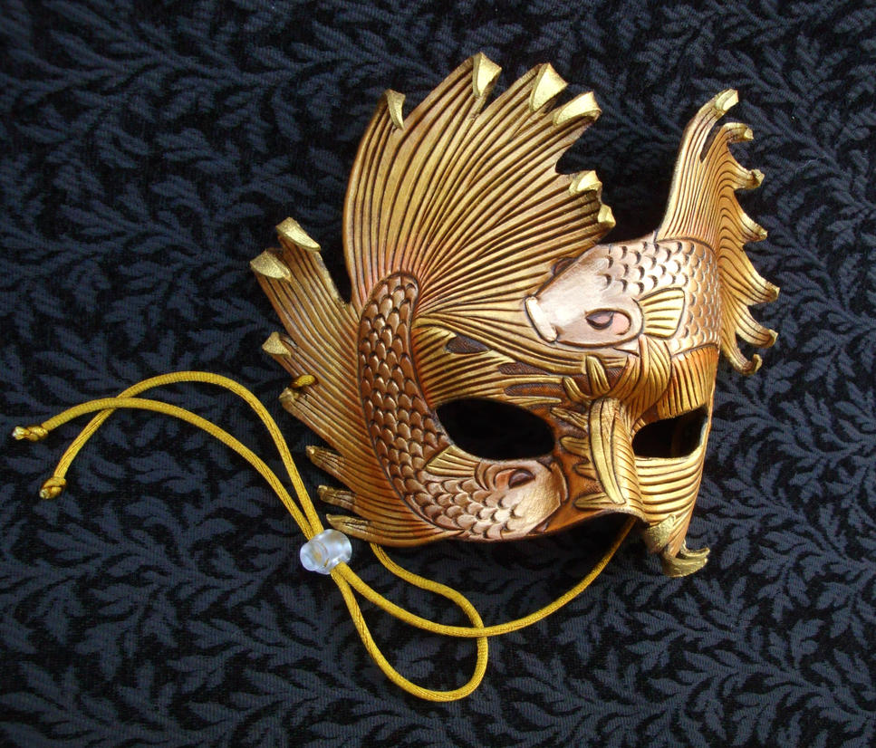 Golden Bronze Fighting Fish Leather Mask by merimask