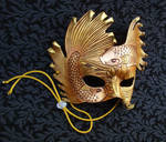 Golden Bronze Fighting Fish Leather Mask