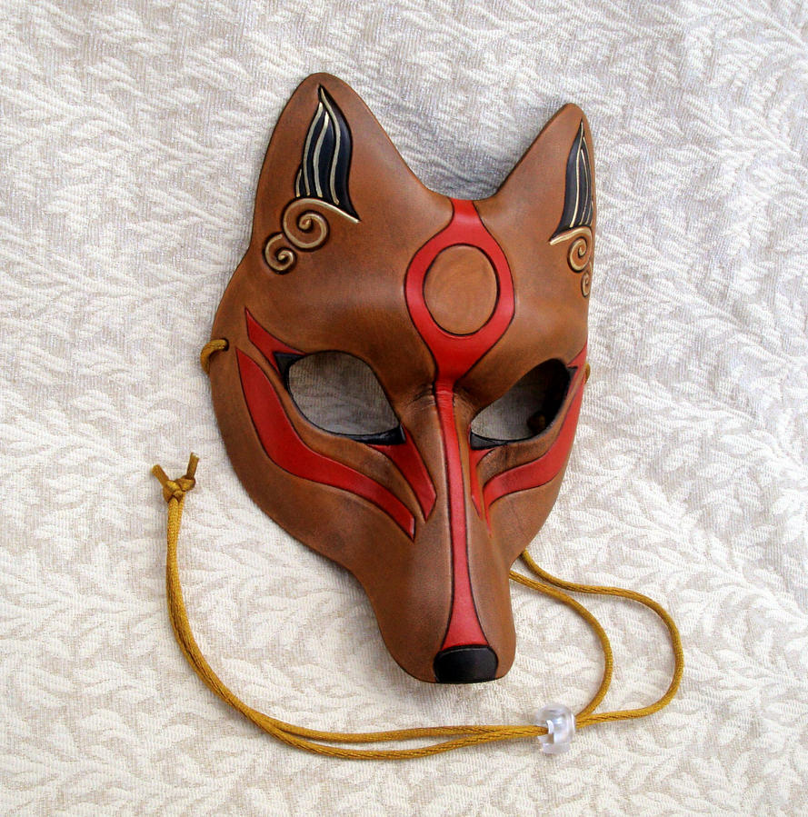 Brown Okami Kitsune Mask by merimask