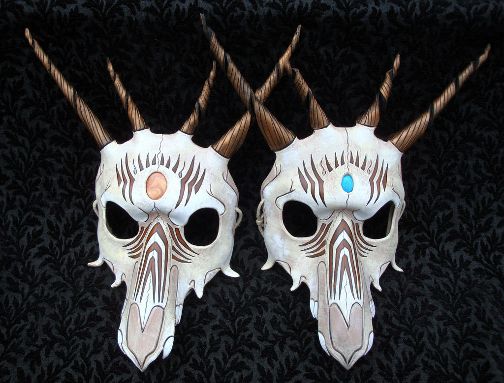 Pair Of Southwestern Dragon Skull Leather Masks by merimask