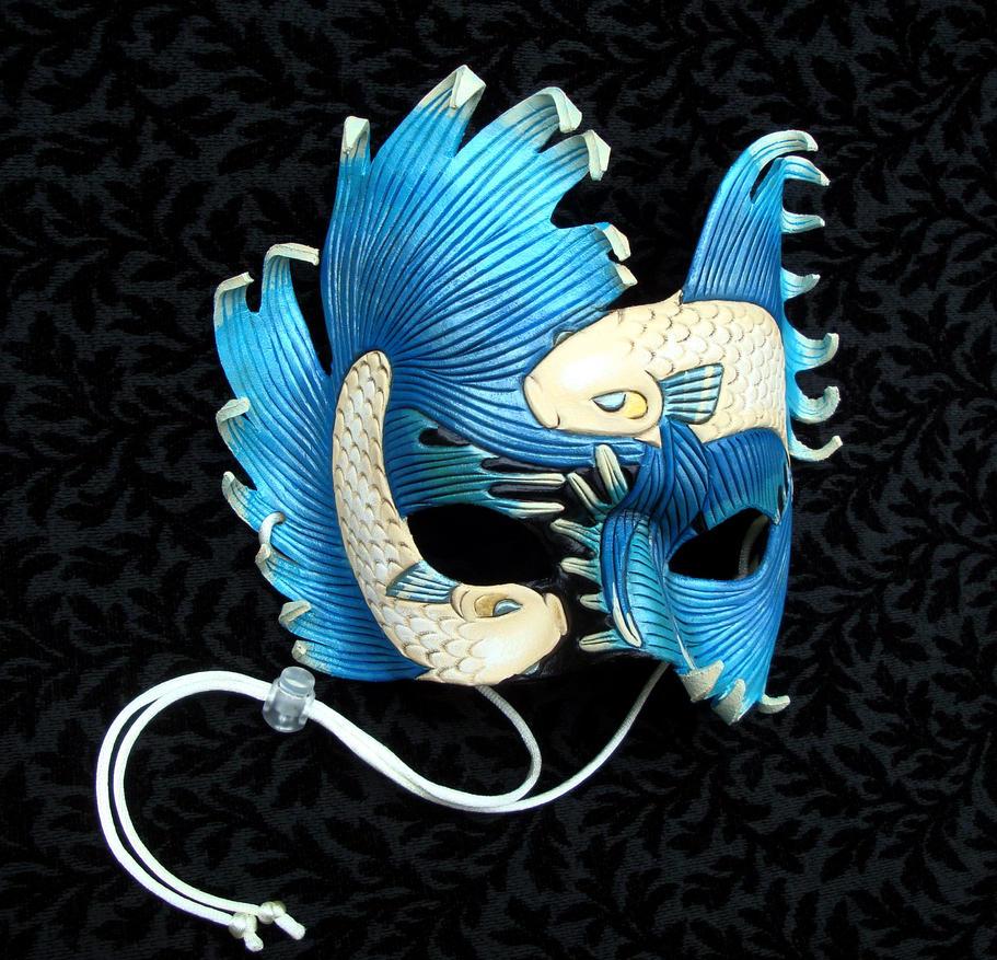 Aqua and Cream Fighting Fish Mask by merimask