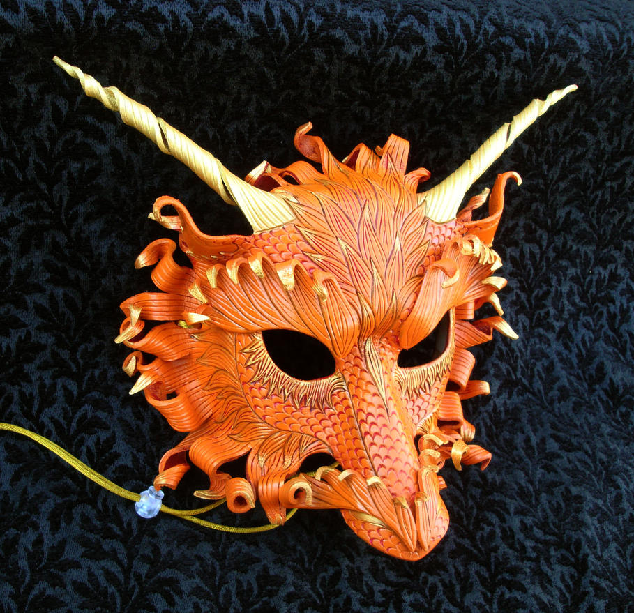 Orange Fire Dragon Mask by merimask