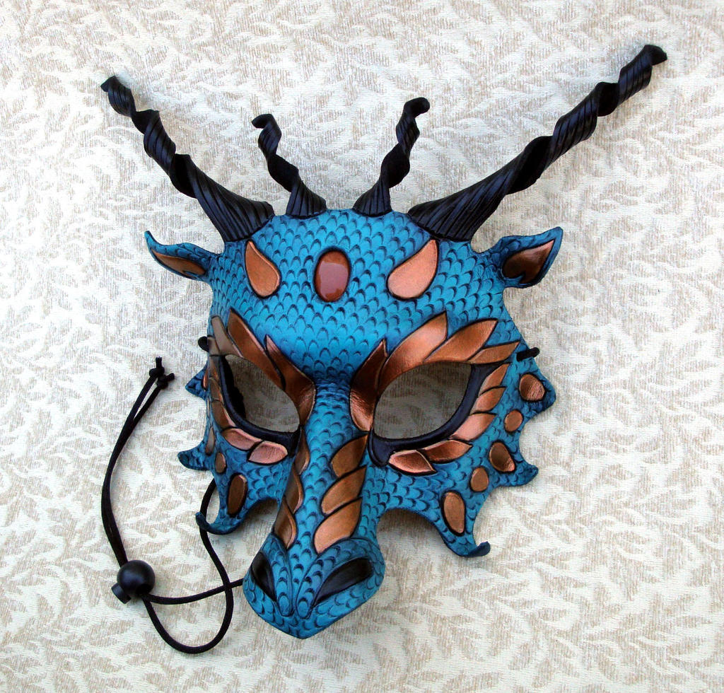 Aqua and Copper Dragon Mask by merimask