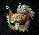 Iridescent Fighting Fish Leather Mask