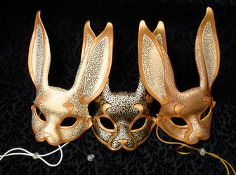 Three Venetian Rabbit Masks