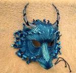 Custom Duochrome Teal Dragon Mask