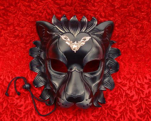Black Lion With Silver Flourish