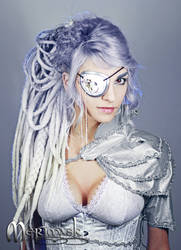 Beki wearing steampunk eye patch