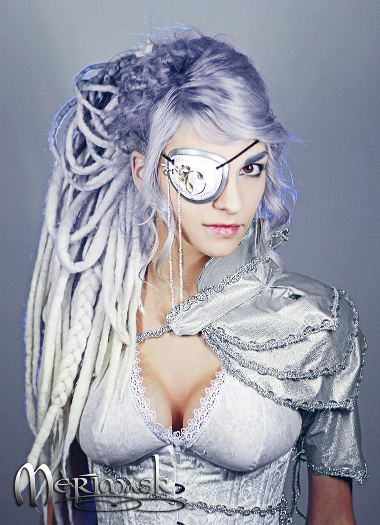 Beki wearing steampunk eye patch by merimask