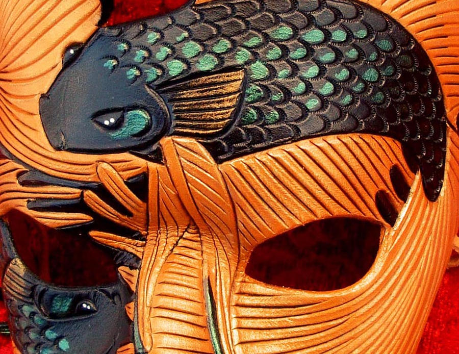Detail of Chocolate Fighting Fish Mask by merimask