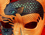Detail of Chocolate Fighting Fish Mask