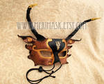 Copper Black Gold Half Dragon Mask