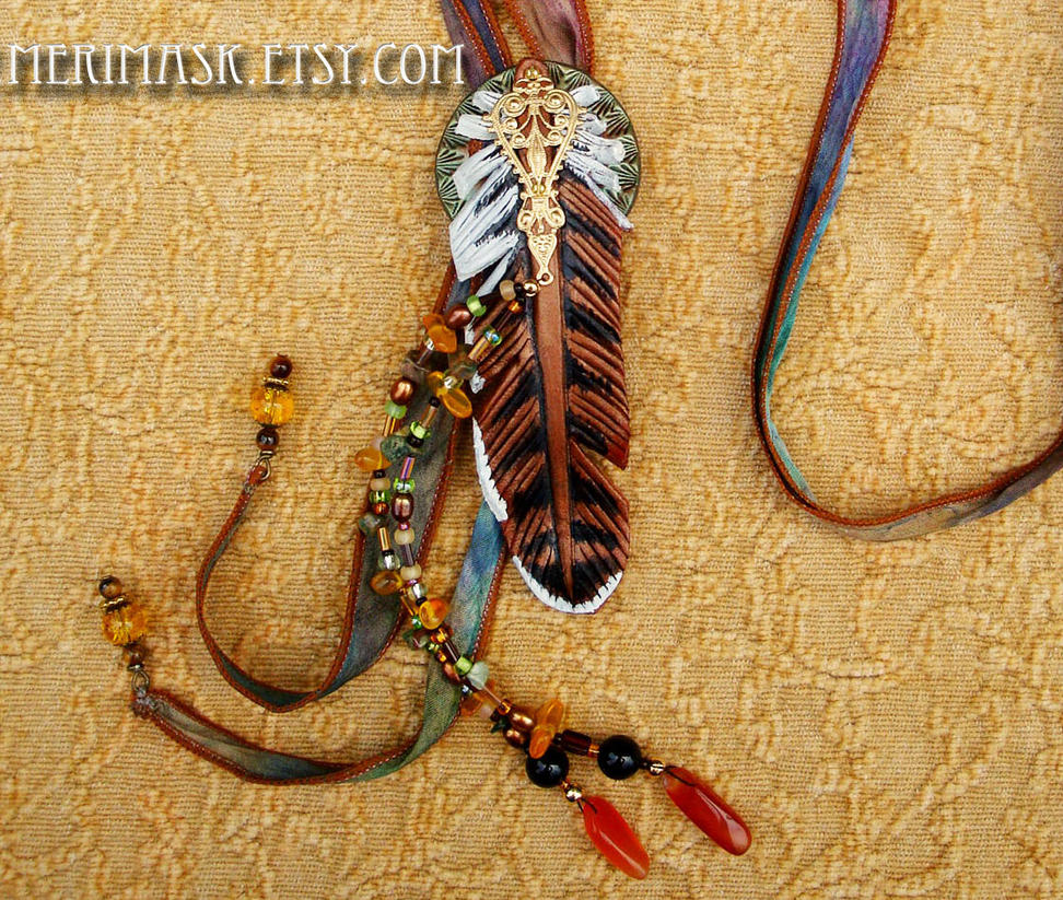 Leather Hawk Feather Necklace #1 by merimask