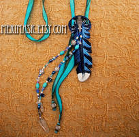 Leather and Silk Blue Jay Lariat #1 by merimask