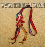 Silk and Leather Oak Leaf Lariat #1