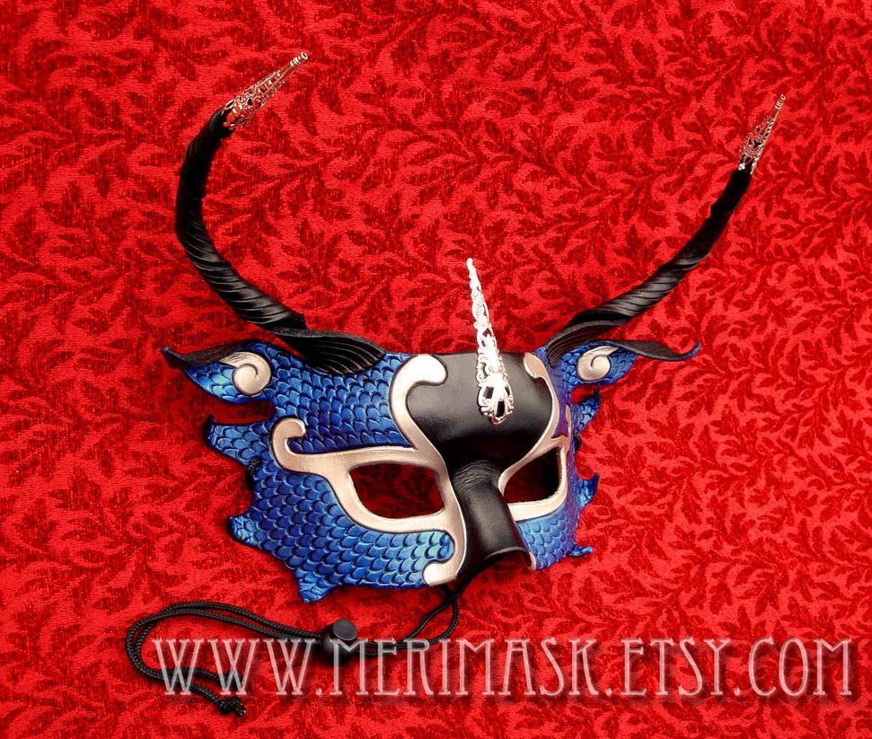 Blue Half-Dragon Silver Filigree Leather Mask by merimask