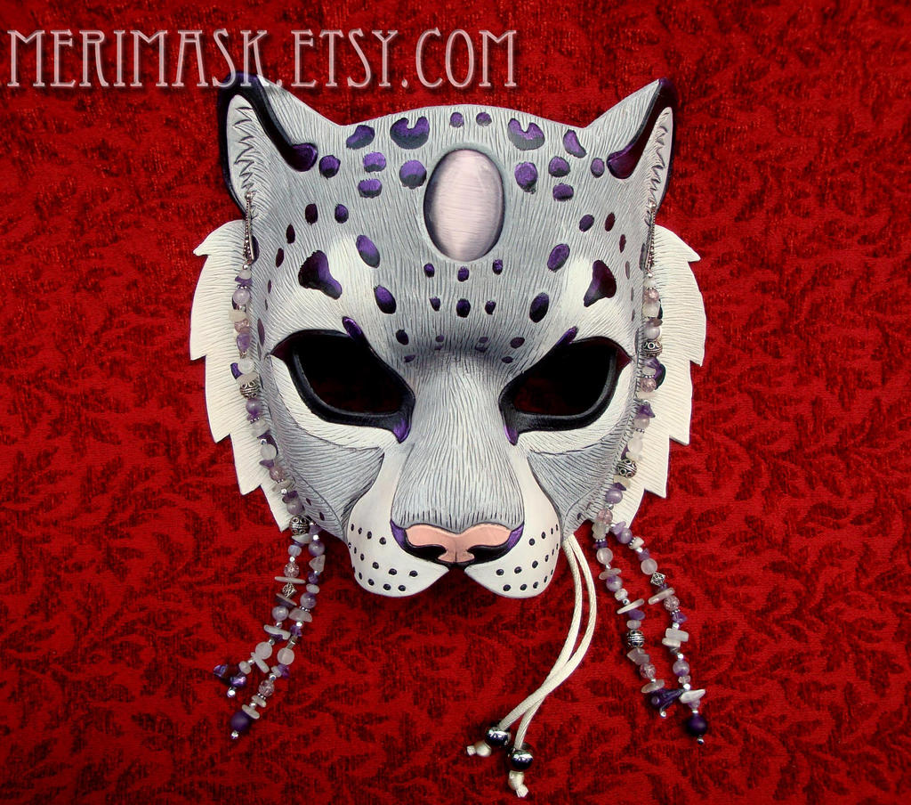 Amethyst Moonstone Snow Leopard Mask by merimask