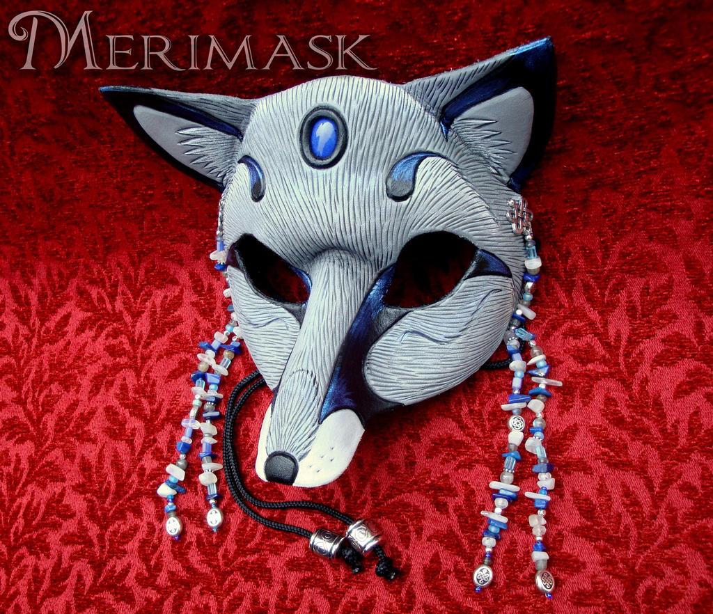 Moonstone Lapis Gray Fox Mask by merimask