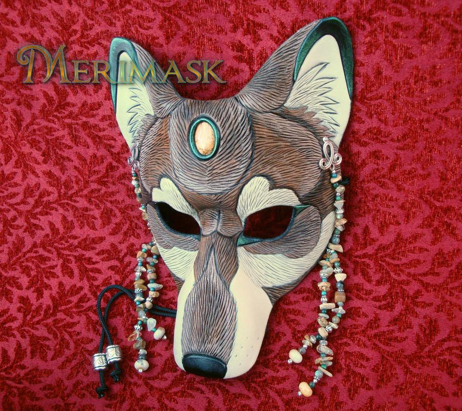 Tawny Jasper Labradorite Wolf Mask by merimask