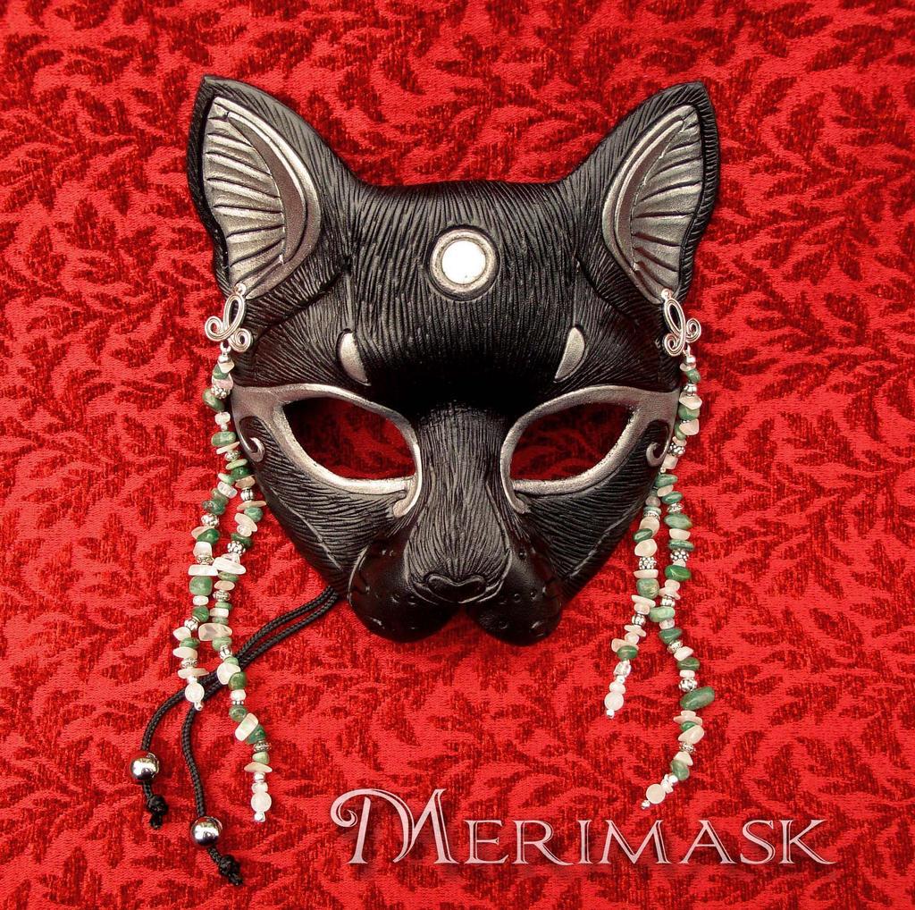 Moonstone Beaded Bast Cat Mask