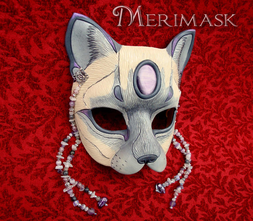 Amethyst Moonstone Lilac Point Cat Mask by merimask